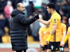 """Wolves manager Nuno Espirito Santo (left) admits injured striker Raul Jimenez has been a """"terrible"""" loss to the Premier League club (Nick Potts/PA)"""