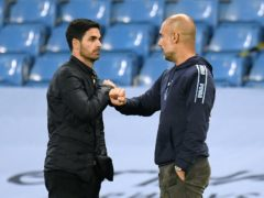 Arsenal manager Mikel Arteta (left) faces Manchester City boss Pep Guardiola (Peter Powell/NMC Pool/PA)