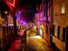 The Christmas lights are up in Marburg, Germany, but the streets are almost empty amid the pandemic (Michael Probst/AP)