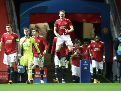 Manchester United's Scott McTominay (centre) was unhappy (Martin Rickett/PA)