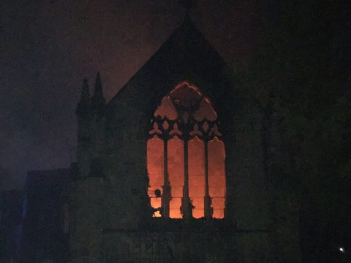 The blaze at All Saints Church in Mackworth, Derbyshire (DFRS/PA)