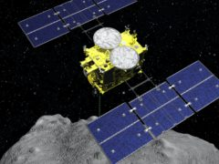 The Hayabusa2 spacecraft above the asteroid Ryugu. The Japanese space agency said Friday they are all set for the spacecraft′s final approach to Earth this weekend to deliver a capsule containing valuable samples of a distant asteroid that could provide clues to the origin of the solar system. (ISAS/JAXA via AP, File)