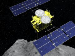 The Hayabusa2 spacecraft above the asteroid Ryugu (ISAS/JAXA via AP, File)