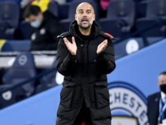 Manchester City manager Pep Guardiola watched his side beat Fulham (Peter Powell/PA)