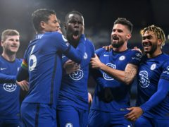 Chelsea's Kurt Zouma (centre) celebrates his goal against Leeds (Mike Hewitt/PA)