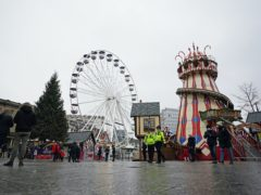 Police officers on patrol at the Christmas market in Nottingham which has been shut temporarily (Zac Goodwin/PA)