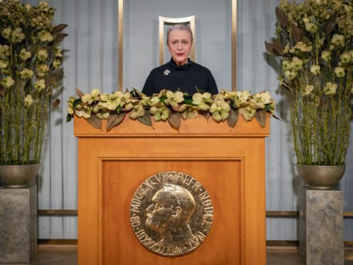 Nobel Committee chairwoman Berit Reiss-Andersen makes a statement at the Nobel Institute as part of the digital award ceremony for this year's Peace Prize (Heiko Junge / NTB via AP)
