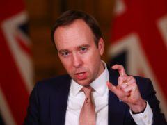 Health Secretary Matt Hancock during the latest Downing Street briefing (Simon Dawson/PA)