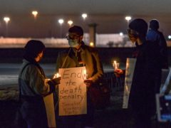 Protesters demonstrate against the death penalty in Terre Haute, Indiana, where two men were executed on Thursday and Friday (Austen Leake/The Tribune-Star/AP)