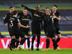 West Ham's Angelo Ogbonna, centre, celebrates (Gareth Copley/PA)