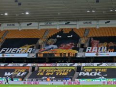 A banner at Molineux displays support for Raul Jimenez (Catherine Ivill/PA)