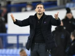 Chelsea manager Frank Lampard gestures in frustration during the defeat by Everton (Peter Powell/PA)