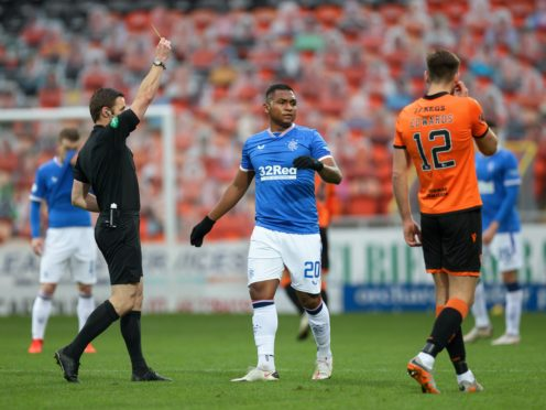 Alfredo Morelos was booked at Tannadice but now misses two games (Willie Vass/PA)