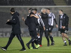 St Mirren manager Jim Goodwin (third from the right) celebrates after his team stunned Rangers to reach the last four of the Betfred Cup (Andrew Milligan/PA)