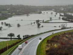 Flooded fields as the River Towy bursts its banks in Carmarthenshire (Ben Birchall/PA)