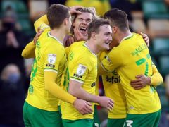 Todd Cantwell (centre facing) scored Norwich's second (Nigel French/PA)