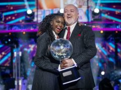 Professional dancer Oti Mabuse and comedian Bill Bailey won Strictly Come Dancing 2020 (Guy Levy/BBC/PA)