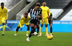 Callum Wilson fires Newcastle level from the penalty spot (Lee Smith/PA)
