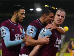 Ashley Barnes, right, scored for the first time in 13 months to help Burnley to victory (Gareth Copley/PA)