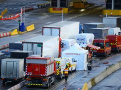 Vehicles begin to move into the departures boarding area as Covid-19 tests are carried out at the Port of Dover (Aaron Chown/PA)