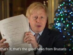 Boris Johnson has suggested people read the deal on Christmas Day (@borisjohnson/PA)