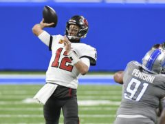 Tampa Bay Buccaneers quarterback Tom Brady (12) throws during the first half of an NFL football game against the Detroit Lions (AP Photo/Lon Horwedel)