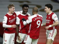 Bukayo Saka (second left) scored Arsenal's third in a convincing win over Chelsea (Andrew Boyers/PA)