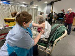 Edward Whitehead, 84, receives the coronavirus jab at James Cook University Hospital in Middlesbrough (David Whitehead)