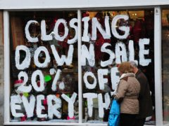 Closing Down sign in a shop (Rui Vieira/PA)