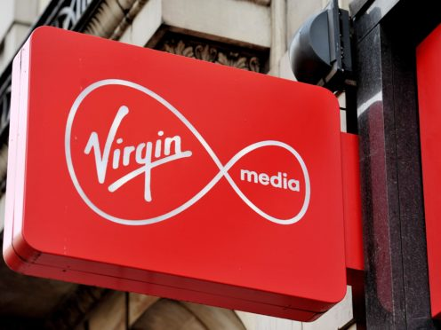 A shop sign for Virgin media in central London.