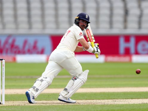 England's Rory Burns batting during day one of the Third Test at Emirates Old Trafford, Manchester.