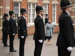 Home Secretary Priti Patel inspects new police recruits at a passing out parade at Essex Police Headquarters in Chelmsford. (Stefan Rousseau/PA)