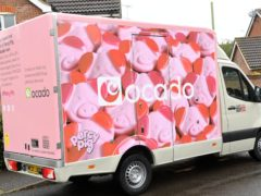 An Ocado van containing an image of Percy Pigs (Doug Peters/PA)