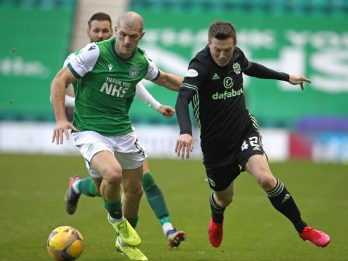 Alex Gogic (left) scored a rare goal for Hibs (Andrew Milligan/PA)