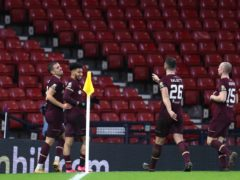 Josh Ginnelly, second left, scored in Hearts' win (Andrew Milligan/PA)