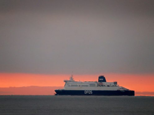 A ferry heads for France from Kent after the UK left the single market and customs union (Gareth Fuller/PA)