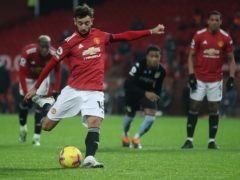 Bruno Fernandes scores from the penalty spot against Aston Villa (Carl Recine/PA)