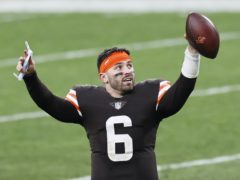Cleveland Browns quarterback Baker Mayfield celebrates after the Browns defeated the Pittsburgh Steelers (Ron Schwane/AP)