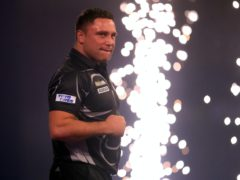 Gerwyn Price celebrates winning the final against Gary Anderson on day sixteen of the William Hill World Darts Championship (Adam Davy/PA)