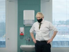 Prime Minister Boris Johnson during a visit to view the vaccination programme at Chase Farm Hospital in north London (Stefan Rousseau/PA)