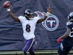 Lamar Jackson led Baltimore to victory (Mark Zaleski/AP)