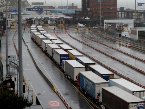 Up to 200 lorries-a-day are being turned back at the EU crossing (Gareth Fuller/PA)