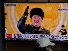 A TV screen showing North Korean leader Kim Jong Un (Lee Jin-man/AP)
