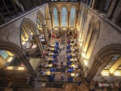 Cubicles erected inside Salisbury Cathedral, Wiltshire, for people to receive an injection of the Pfizer coronavirus vaccine (Steve Parsons/PA)