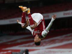 Pierre-Emerick Aubameyang celebrates scoring Arsenal's opener (Catherine Ivill/PA)