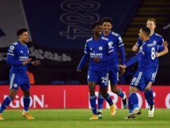 Wilfred Ndidi, centre, celebrates his opening goal (Rui Vieira/PA)