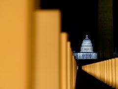 Lights surround the Lincoln Memorial Reflecting Pool (Alex Brandon/AP)