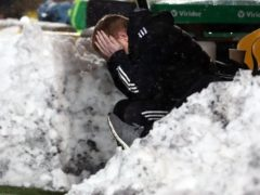 Neil Lennon reacts to another blow at Livingston (Andrew Milligan/PA)