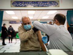 Masud Ahmad, 79, is vaccinated at the Al-Abbas Islamic Centre in Birmingham (Jacob King/PA)