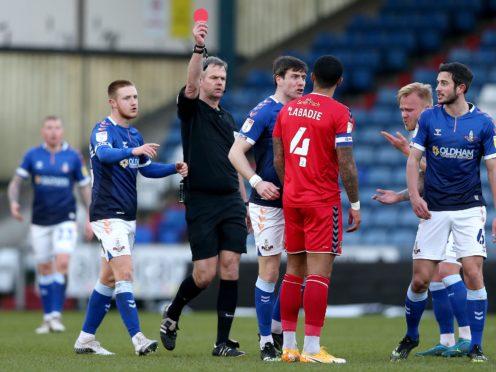 Newport captain Joss Labadie was sent off against Oldham (Tim Markland/PA)